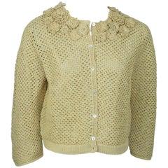 Red Valentino Beige Raffia Crochet Knit Jacket w/ Floral Detail -  Medium