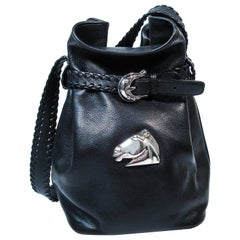 Barry Keiselstein-Cord Black Leather Horse Bucket Bag with Silver Hardware