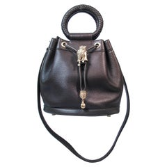 Barry Keiselstein-Cord Olive Drawstring Bucket Bag with Frog and Gold Hardware