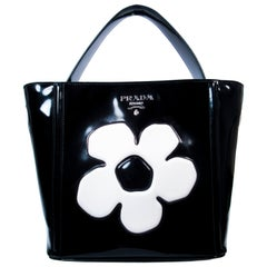 Prada Black and White Patent Leather Flower Purse with Optional Shoulder Strap