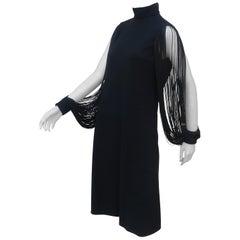 1960's Gayle Kirkpatrick Black Crepe Dress With Fringe Sleeves