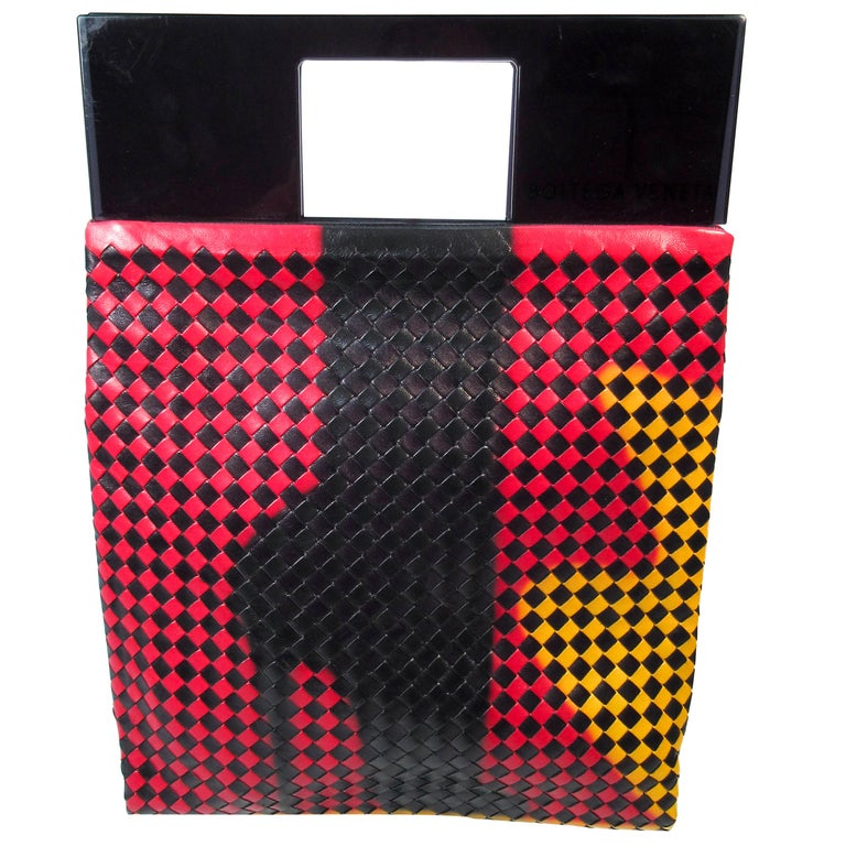 48ce04f351d9 Bottega Veneta Black Yellow Red Woven Large Plastic Shopper High Heel Design