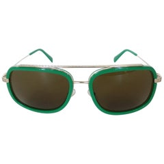 Versace Green Enamel Greek Key Sunglasses