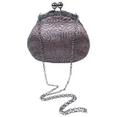 Judith Leiber Silvertone Embroidered Lame Frame Purse with Silvertone Hardware
