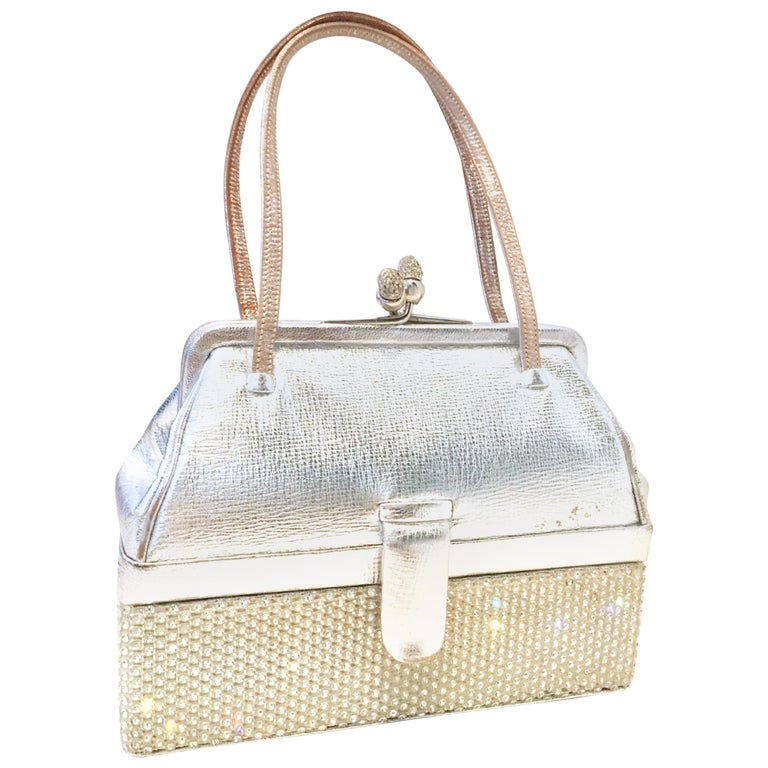 20th Century Judith Leiber Python & Swarovski Crystal Minaudiere Evening Bag For Sale