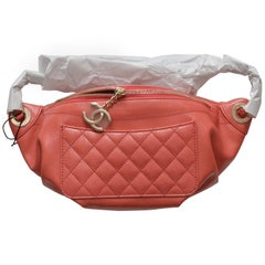 Chanel Pink Fanny Pack Pink Lambskin Waist Belt Bag Sold Out NEW