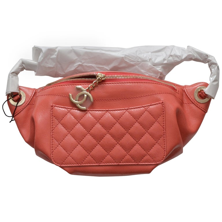 cf311b6cd67 Chanel Pink Fanny Pack Pink Lambskin Waist Belt Bag Sold Out NEW For Sale