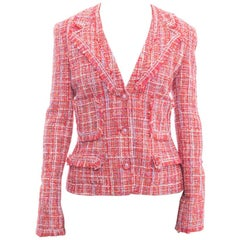 Chanel 04P Hot Pink Tweed Jacket with Clear CC Buttons