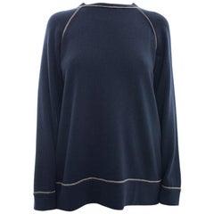Brunello Cucinelli Navy Blue Cashmere Bead Trim Sweater