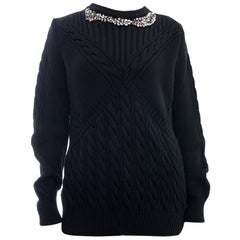 Erdem 2017 Black Cable Knit Sweater with Jewelled Neckline