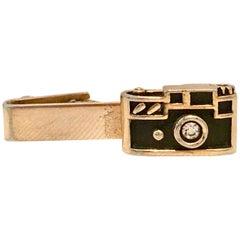 "Mid-Century Gold Enamel & Crystal Rhinestoe ""Camera"" Tie Clip By, Swank"