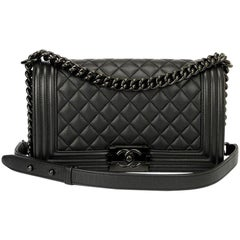Chanel 17S So Black medium boy bag with iridescent black hardware