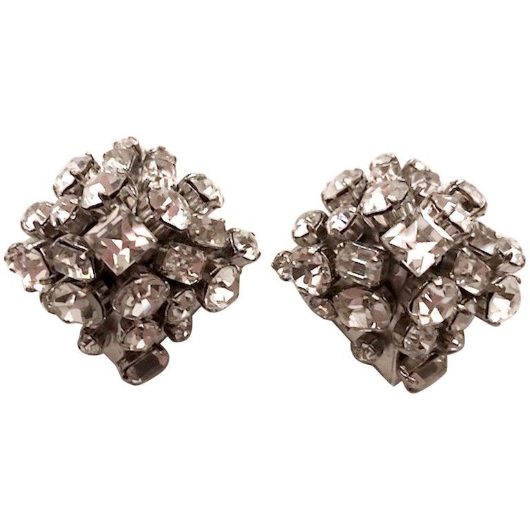 De Liguoro Large Rhinestone Pyramid Earrings For