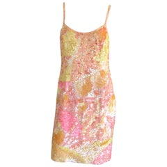 1980s Fully Sequined Wiggle Body Con dress 80s