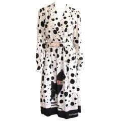 1970s Lilli Ann Silk Polka Dot Black & Cream Cat Dress