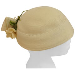 1940s Piko Woven Ecru Sisal Hat w/Flowers and Leafs