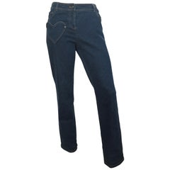 Dior Denim Button Up Jeans with Heart Shape Pockets Size 6.