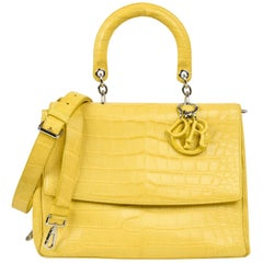 Christian Dior Be Dior Bag Matte Yellow Crocodile Double Flap  Medium