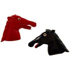 Pair 1930s Black Red Bakelite Braying Donkeys Horses Brooches/Pins