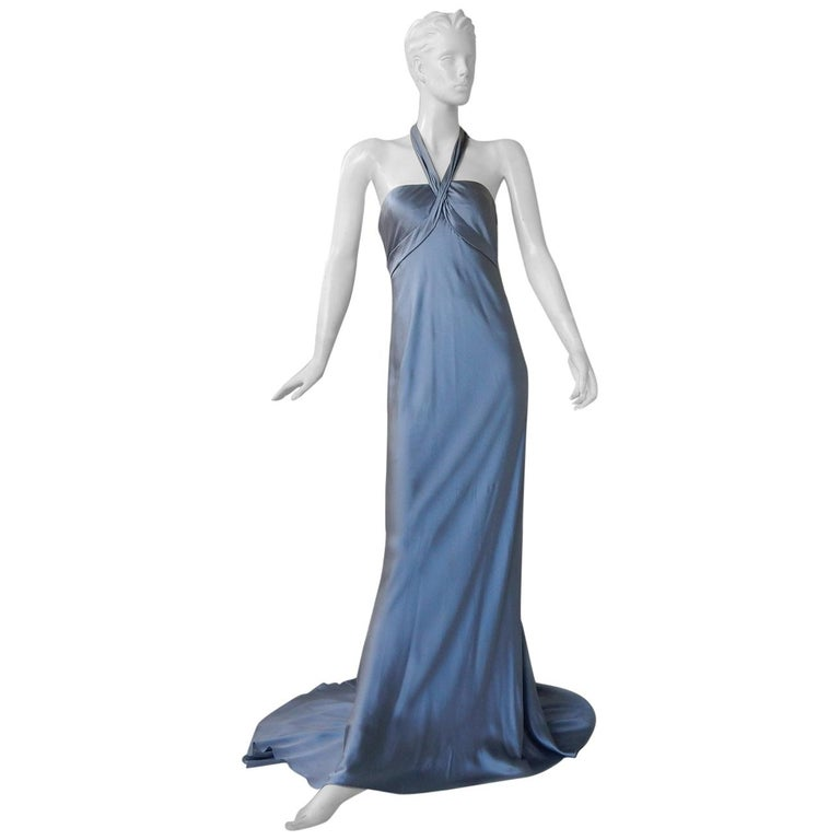 Oscar de la Renta 1930's Harlowesque Silk Charmeuse Bias Cut Gown For Sale