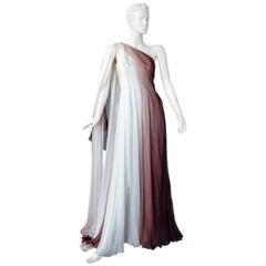 Monique LHuillier Runway One Shoulder Toga Silk Chiffon Gown Dress