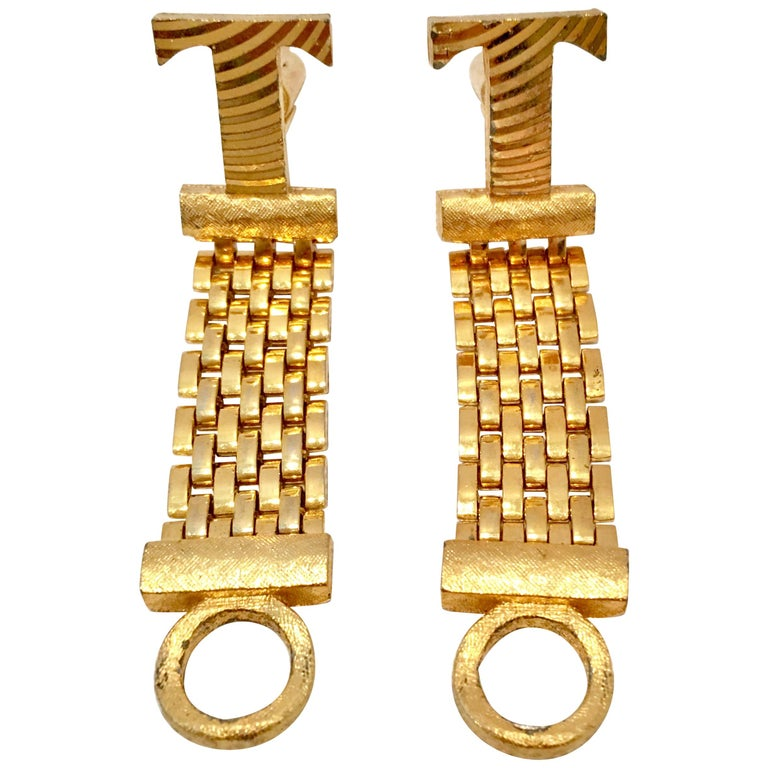"20th Century Gold Metal Mesh ""T"" Cuff Links By, Dante For Sale"