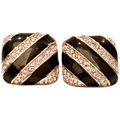 90'S Gold Plate Ennamel & Swarovski Crystal Earrings By, Swaovski