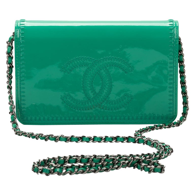 Chanel Emerald Green Patent Cross Body Bag At 1stdibs