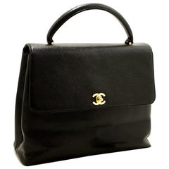 Chanel Kelly Caviar Black Flap Leather Gold Hardware Handbag