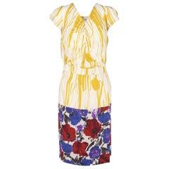 2000s Dries Van Noten Multicolor Printed Silk Dress