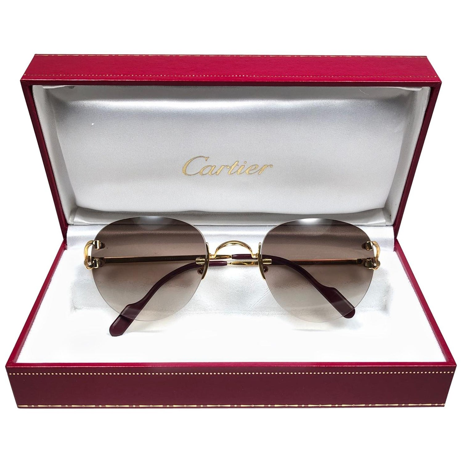 5cb28128256f Cartier Salisbury Rimless Gold 51mm Brown Gradient Lens France Sunglasses  at 1stdibs