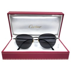 Cartier Salisbury Rimless Titanium 51mm Dark Grey Lens France Sunglasses