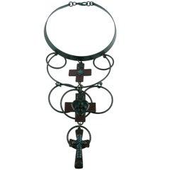 Jean Paul Gaultier Vintage Gothic Cross Choker Necklace