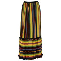 Skirt multicolored stripes Silk Vintage Italy 1960s