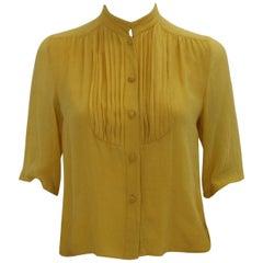 Celine Blouse Yellow Silk Paris 1970s