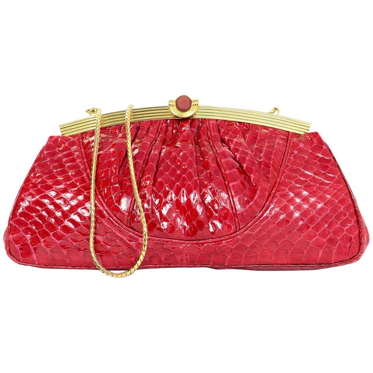 Judith Leiber Vintage Red Python Frame Clutch/Crossbody Bag w. Dust Bag