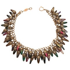 Enameled Lucite Charm and Gold Double Necklace of Elsa Martinelli