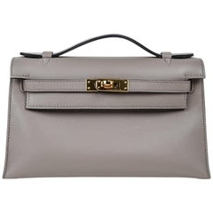 Hermes Kelly Pochette Gris Asphalte Swift Gold Hardware