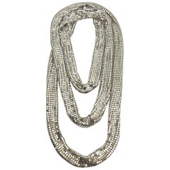 "1970s Silver mesh 70"" long Necklace from Elsa Martinelli"