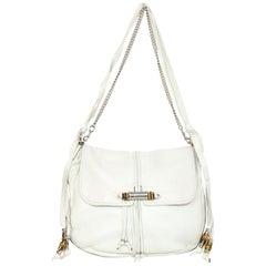 Gucci White Calfskin Large Jungle Shoulder Bag with Dust Bag