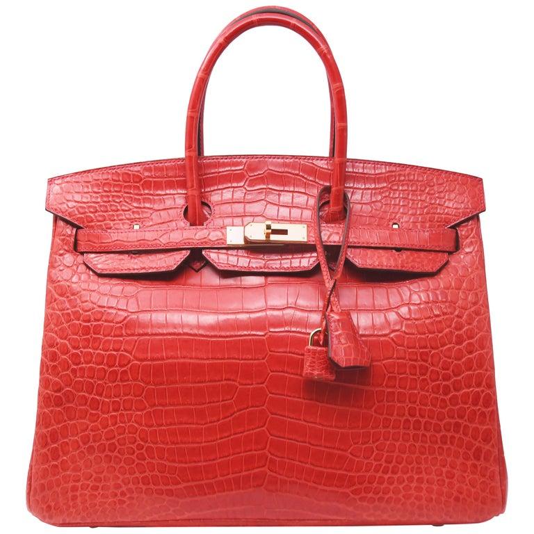 f7ae56fe90 Hermes Birkin Bag 35cm Geranium Porosus Crocodile w Gold Hardware For Sale