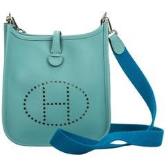 Hermes Mini Evelyne Blue Atolle Zanzibar shoulder bag