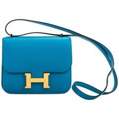 New in Box Hermes Mini Constance Blue Zanzibar Gold