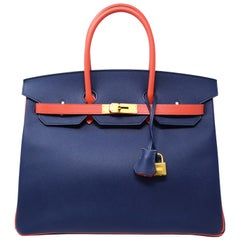 Hermes Birkin Bag 35cm Bicolor Navy with Salmon with Gold Hardware