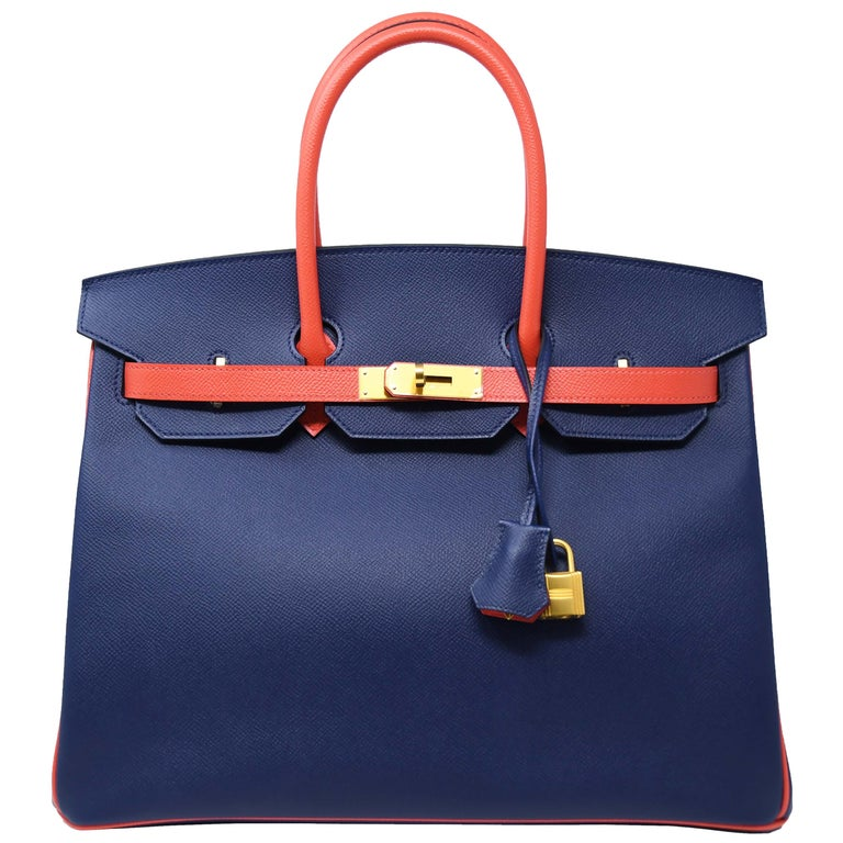 4ba01b29c566 Hermes Birkin Bag 35cm Bicolor Navy with Salmon with Gold Hardware For Sale