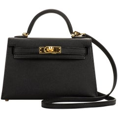 New Hermes VIP Mini Kelly II Black Gold Bag