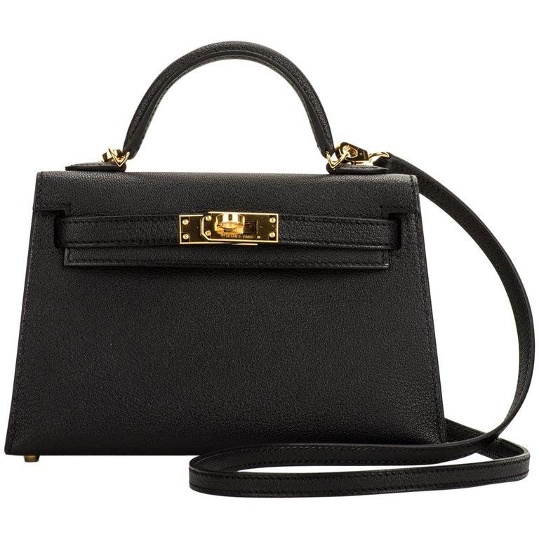 New Hermes VIP Mini Kelly II Black Gold Bag