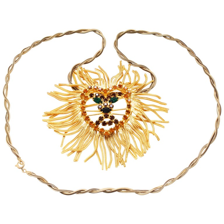 e95d2dad6 Large Lion Head Brooch Pendant Necklace with Gems In The Style of Dominique  For Sale