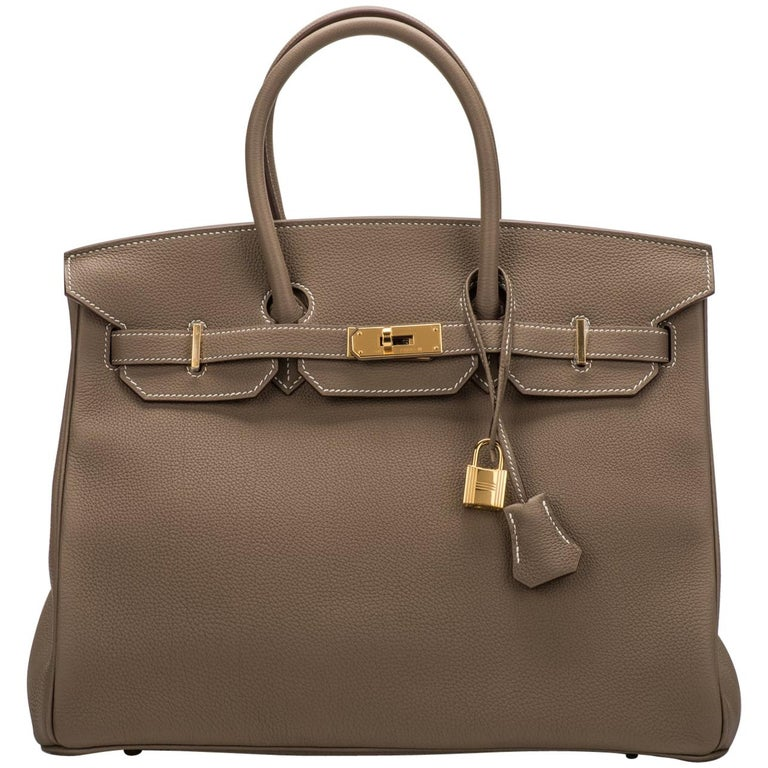 dc51a9debf New in Box Hermes Birkin 35 Etoupe Gold Togo Bag For Sale at 1stdibs