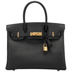 New in Box Hermes Birkin 30 Black Epsom Gold Bag